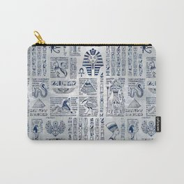 Egyptian hieroglyphs and deities abalone on pearl Carry-All Pouch
