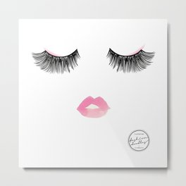 Watercolor lips and lashes print Metal Print