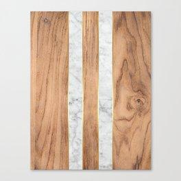Wood Grain Stripes White Marble #497 Canvas Print