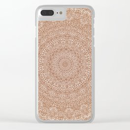 The Most Detailed Intricate Mandala (Brown Tan) Maze Zentangle Hand Drawn Popular Trending Clear iPhone Case