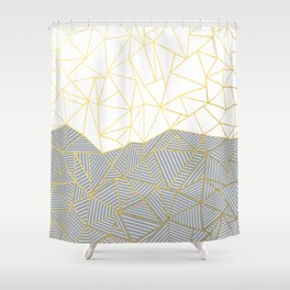 Ab Half and Half Grey Shower Curtain