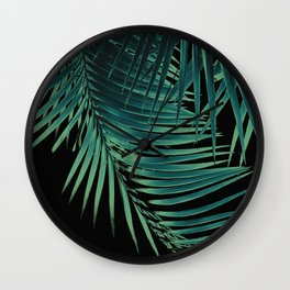 Palm Leaves Green Vibes #5 #tropical #decor #art #society6 Wall Clock