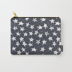 Linocut Stars - Navy & White Carry-All Pouch