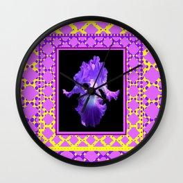 Purple-Blue Iris Lilac- Yellow Pattern Art Wall Clock