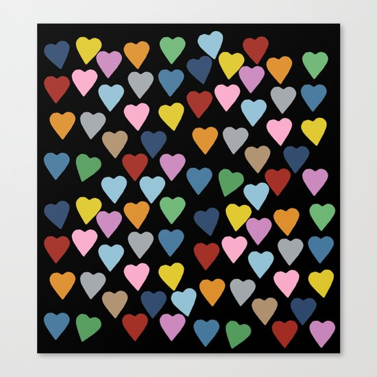 Hearts #3 Black Canvas Print