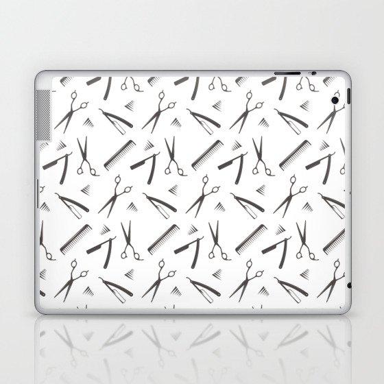 Barbershop pattern shaving razor, brushes and scissors on white Laptop & iPad Skin
