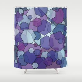 Converging Hexes - purple and blue Shower Curtain