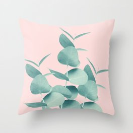 Eucalyptus Leaves Green Blush #1 #foliage #decor #art #society6 Throw Pillow