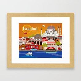 Istanbul, Turkey - Skyline Illustration by Loose Petals Framed Art Print
