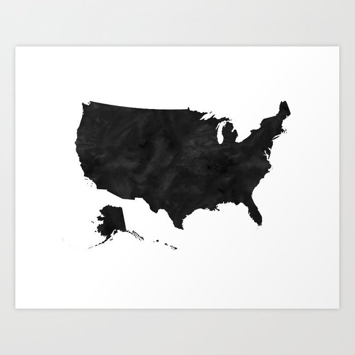 Usa Wall Art Usa Map Usa Poster Watercolor Map Scandinavian Print