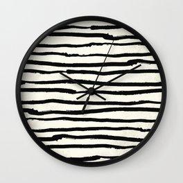 Tribal Stripes Black Earth on Ivory Cream Wall Clock