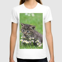 Kitty looking at flowers T-shirt