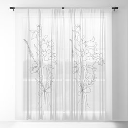 Small Wildflowers Minimalist Line Art Sheer Curtain