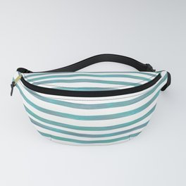 Ocean Green Hand-painted Stripes Fanny Pack