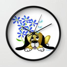 """Pup In The Garden"" Wall Clock"