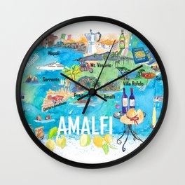 Amalfi Italy Illustrated Mediterranean Travel Map with Highlights of Gulf of Naples Wall Clock