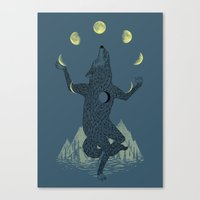 ilovedoodle Canvas Prints featuring Moon Juggler by I Love Doodle
