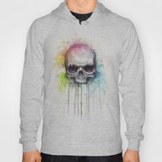 Skull Rainbow Watercolor Painting Skulls Hoody