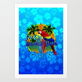 Island Time Surfing Blue Tropical Flowers Art Print