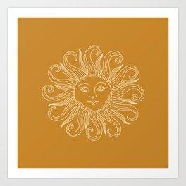 Boho Sun Drawing XX Gold Art Print