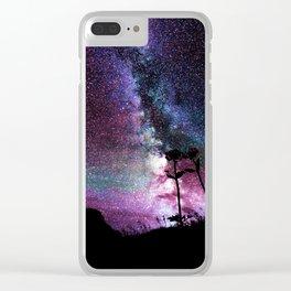 Milky Way Landscape Deep Purple Blue Teal Clear iPhone Case