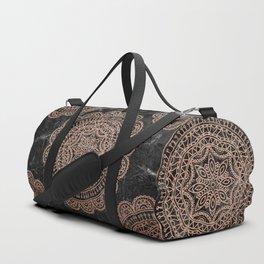 Mandala - rose gold and black marble 2 Duffle Bag