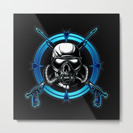 Diver Skull. Metal Print