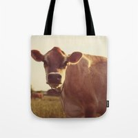 cow Tote Bags featuring cow by Beverly LeFevre