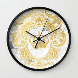 White Peonies Crown Wall Clock