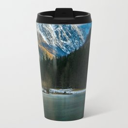Beautiful lake with mountains in background in Zgornje Jezersko Travel Mug