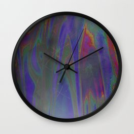 Indigo Rainbow Pastel Holographic Silver Colors Pattern Texture Wall Clock