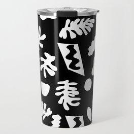 Black and white tropical house plant leaves minimal linocut pattern graphic scandi design Travel Mug
