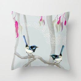 Blue Wren Australian Birds Throw Pillow