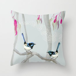 Blue Wren Australian Birds Throw Pillow