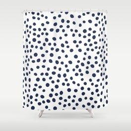 Dark blue vector doodle circle dot Shower Curtain