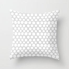 White Dots on Light Gray Throw Pillow