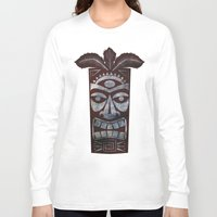 tiki Long Sleeve T-shirts featuring Tiki arg by Georgina Dominguez
