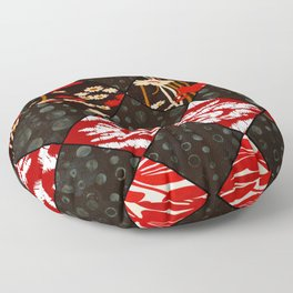 Red floral print and African Print Floor Pillow