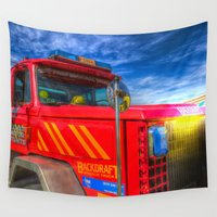 truck Wall Tapestries featuring Backdraft Fire Truck by David Pyatt