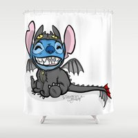 stitch Shower Curtains featuring Toothless Stitch by Eva Duplan Illustrations