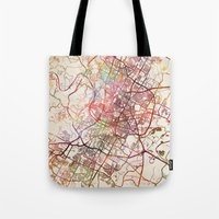 austin Tote Bags featuring Austin by MapMapMaps.Watercolors