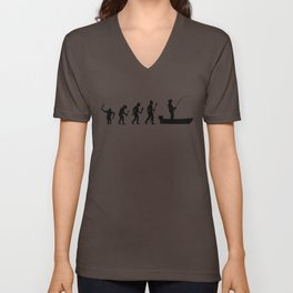 The Evolution Of Man And Fishing Unisex V-Neck