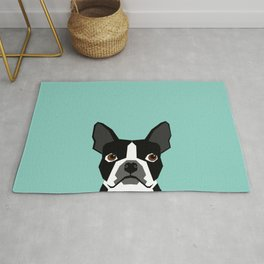 Logan - Boston Terrier pet design with bold and modern colors for pet lovers Rug