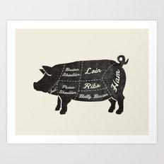 PORK BUTCHER DIAGRAM (pig) Art Print