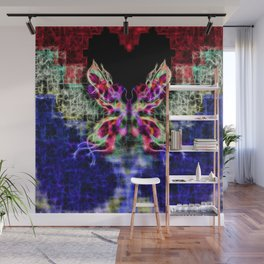 Beautiful Red Purple Blue Fractal Moth with tails of stars Wall Mural