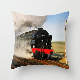 46115 Scots Guardsman Steaming Through Hellifield Throw Pillow