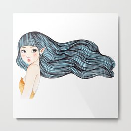 Blue Hair Fairy Metal Print