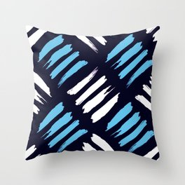 Blue and White Brush Strokes Pattern Throw Pillow