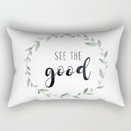 See the Good, Watercolor, Floral Leaf Wreath Rectangular Pillow