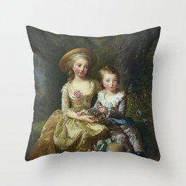 Elisabeth Louise Vigee Le Brun - Louis-Joseph-Xavier-François de France et Marie-Therse-Charlotte de Throw Pillow